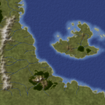 Map of land and water