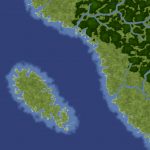 A forest and water